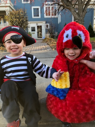 Liam was a pirate and Owen a parrot for Halloween